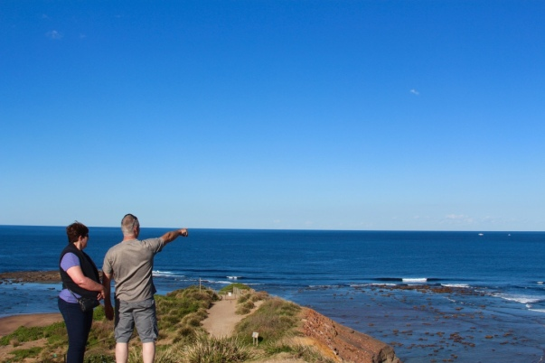 my adventurous parents checking out long reef point while vacationing